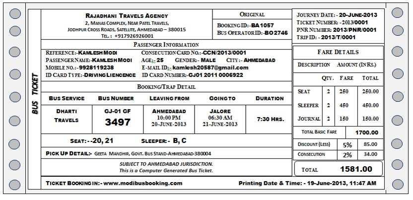 Bus Ticket Format In Pdf