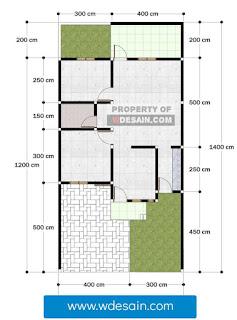 Denah rumah minimalis di lahan 7 x 14 meter