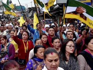 Rally on Gorkhaland demand in Darjeeling