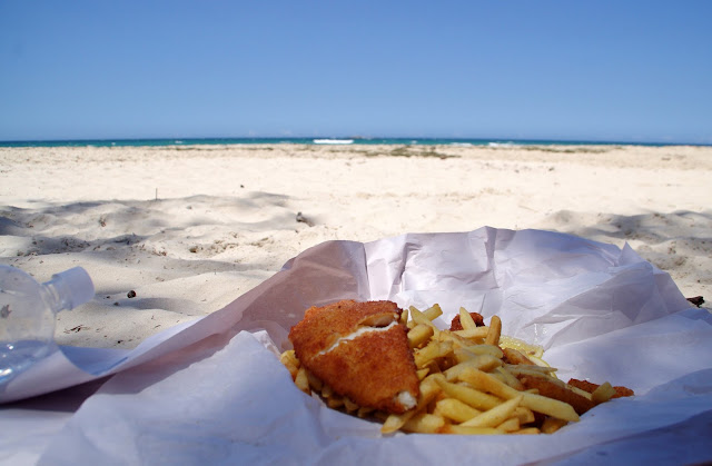 Fish and Chips on beach from Fins N Fries Stradbroke Island