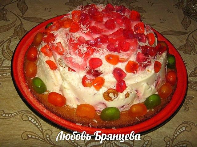 фруктовый желейный торт со сметаной
