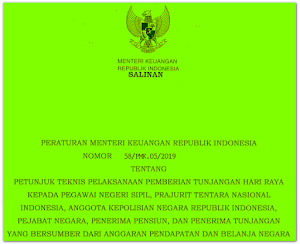 Juknis Pelaksanaan Pemberian THR (PMK No 58/PMK.05/2019)