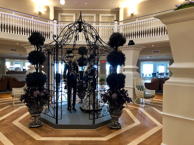 Halloween decor in the lobby of Hotel Breakers for Halloweekend at Cedar Point in Sandusky, Ohio
