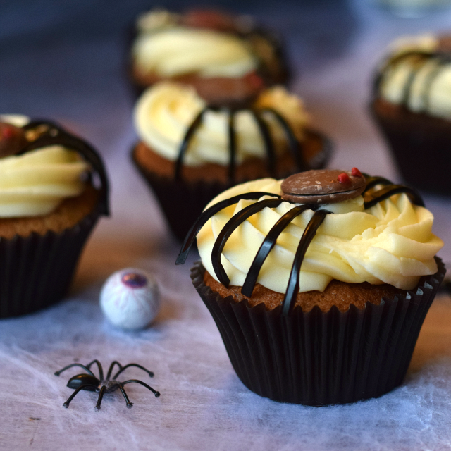 Fun Halloween Cupcakes, decorated with an easy homemade spider!