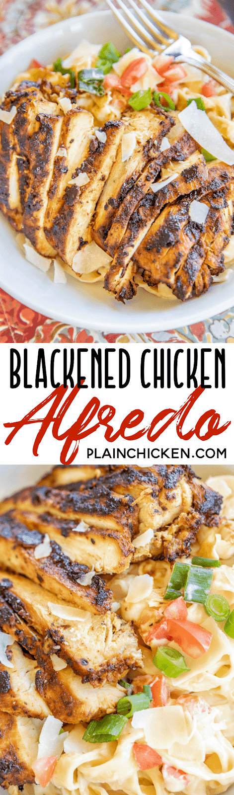 blackened chicken and pasta in a bowl