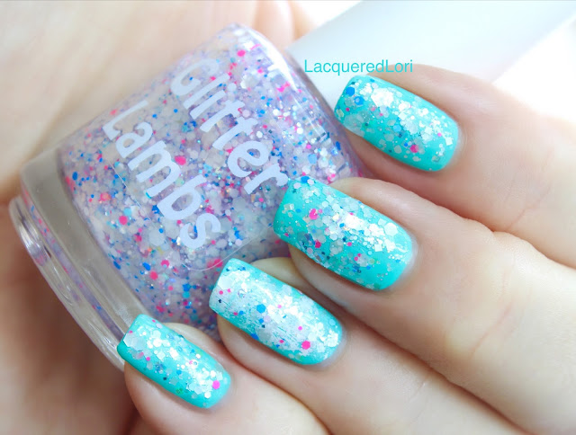 "Glitter Lambs ""Unicorns Love Milkshakes"" Nail Polish. Unicorn Nail Polish-Custom Unicorn Nail Polish-Handmade Unicorn Nail Polish  This nail polish has white opal colored hex glitters with scattered tiny pink and blue hex glitters and a few scattered micro iridescent glitters."
