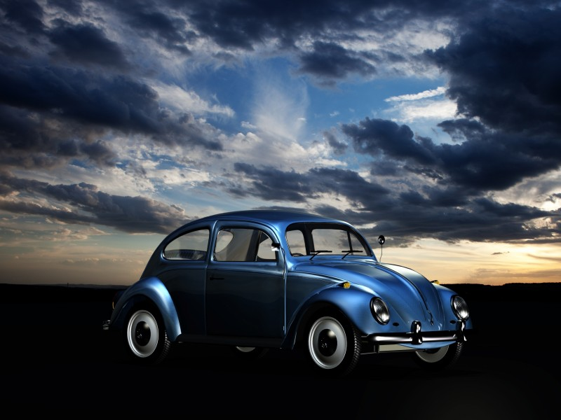 Download Blue Volkswagen Beetle during Golden Hour HD wallpaper. Click Visit page Button for More Images.