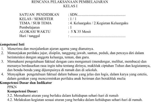 RPP Kurikulum 2013 kelas 1 Tema 4 Subtema 2 Pembelajaran 1 Revisi 2016