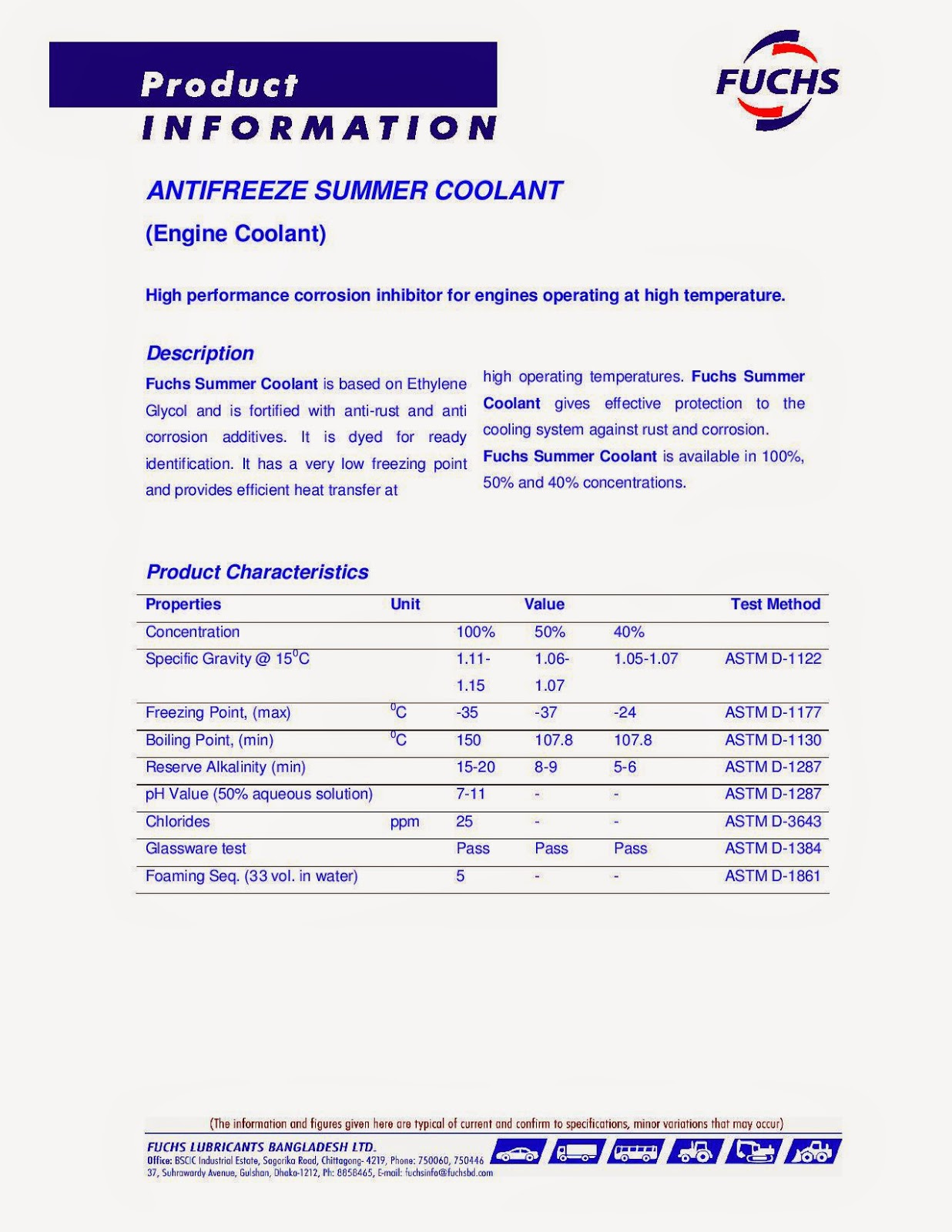 LUBRICANTS ASIA LIMITED: Antifreeze Summer Coolant (Engine