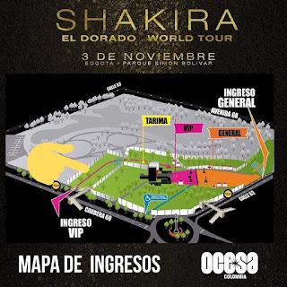MAPA Concierto de SHAKIRA en Bogotá 2018