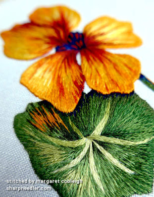Thread painted embroidered nasturtiums detail. (Catherine Laurencon Capucines (Inspirations))
