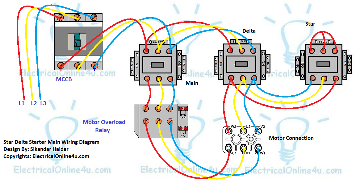 Star Delta Starter Wiring Diagram 3 Phase With Timer Electricalonline4u