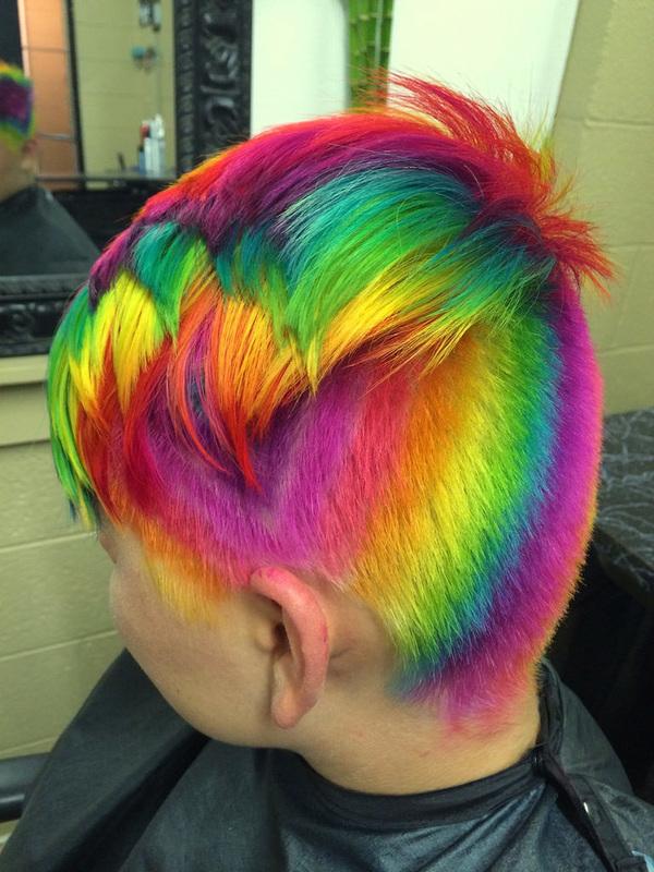Stunning rainbow hairstyles by Ursula Goff Wellington KS United States  The HairCut Web