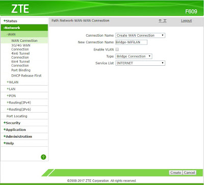 Create WAN Connection ZTE F609