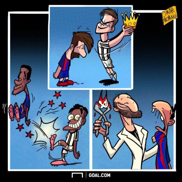 Paulo Dybala, Neymar, Alves, Giorgio Chiellini and Suarez cartoon