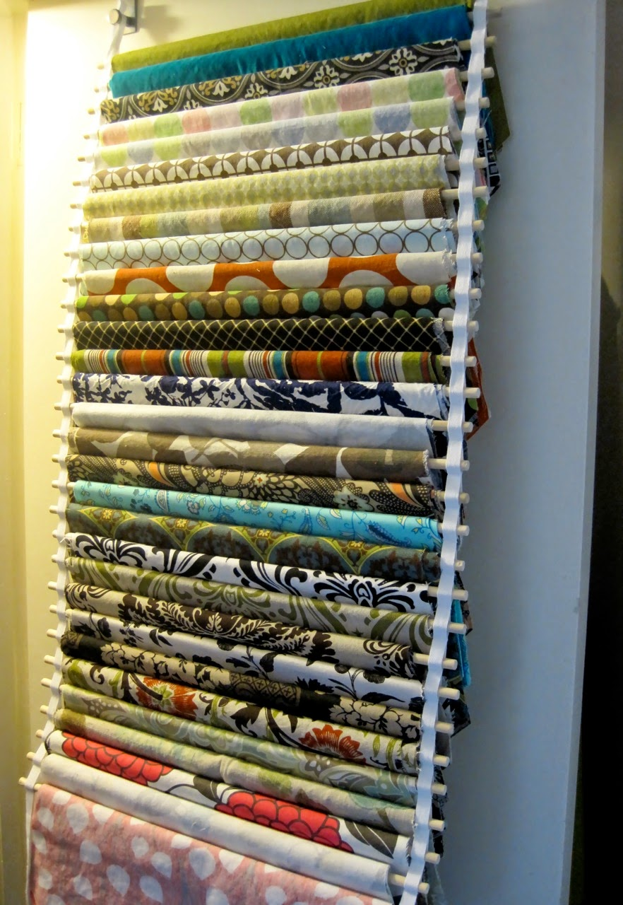 Hang fabric from dowel rods