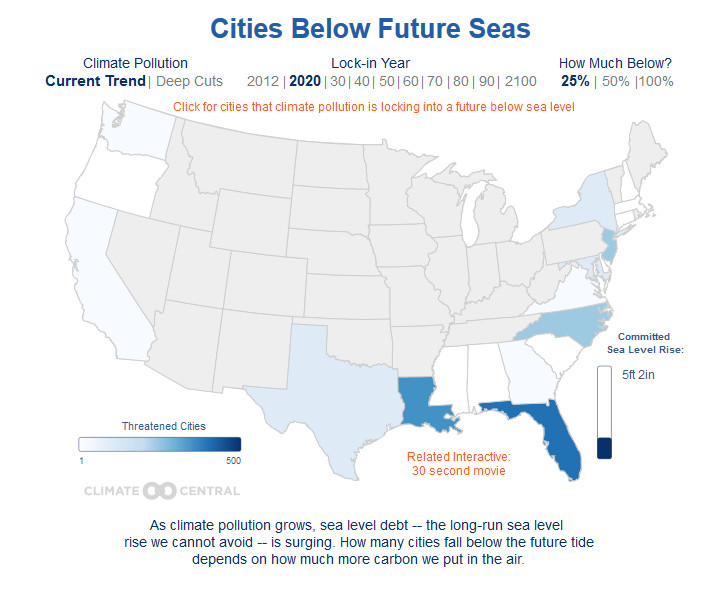 States impacted by sea level rise
