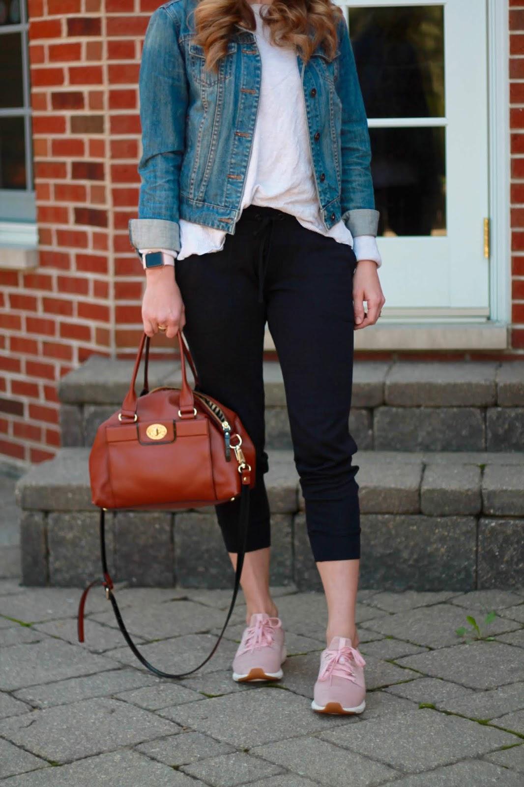 ABEO everett shoes, blush tennis shoes, joggers, striped dress, olive utility vest, striped midi skirt