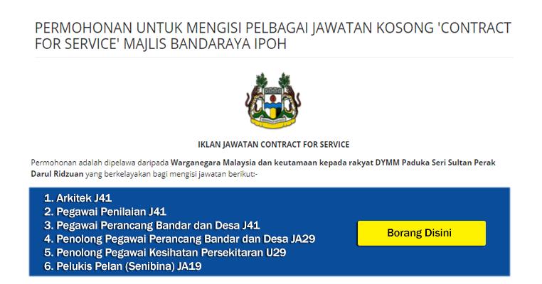 Jawatan Kosong Di Majlis Bandaraya Ipoh Mbi Pelbagai Gred Kelayakan Spm Diploma Ijazah Jobcari Com Jawatan Kosong Terkini