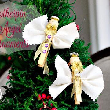 DIY Clothespin Christmas Angel Ornaments