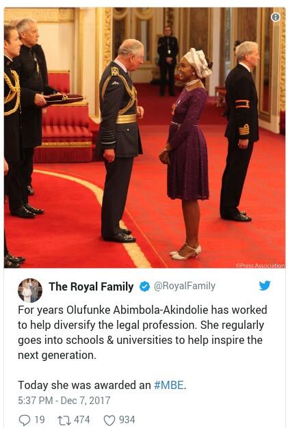 IMG 20171208 083219 - GLOBAL: Nigerians Stay Winning! Olufunke Abimbola-Akindolie awarded Member of the Order of the British Empire (MBE)