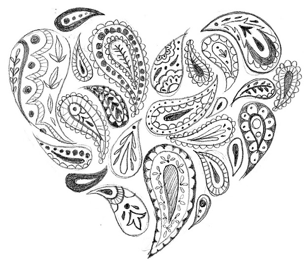 Whimsical Heart Clip Art  Paisley Heart