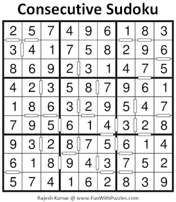 Solution of Consecutive Sudoku Puzzle (Fun With Sudoku Series #264)