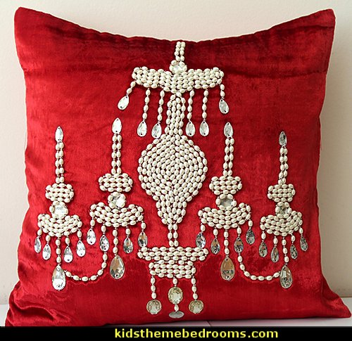 Red Velvet Pillow Cover Beaded Pillow Cover Pearl Throw Pillow Luxurious Pillow Chandelier Pillow Decorative Pillow Cover