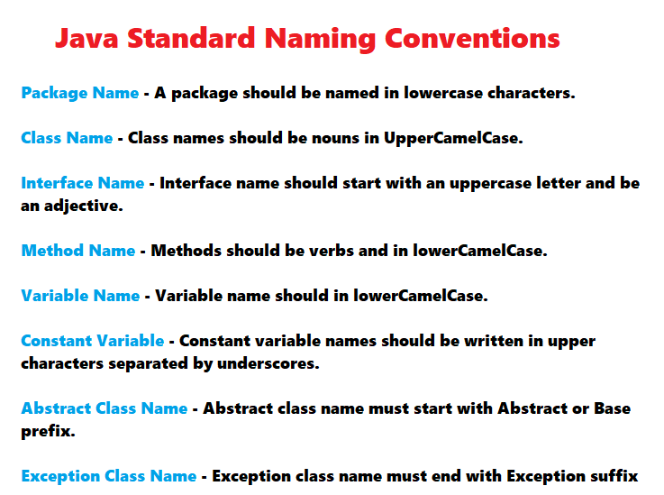 Naming Convention: Java Standard Naming Conventions