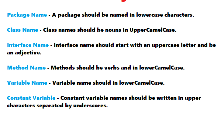 Java Standard Naming Conventions