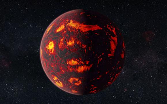 Impresión artística de 55 Cancri e (primer plano)