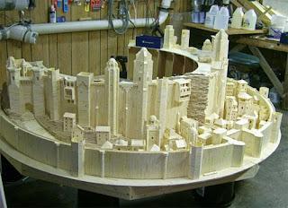 castillo del señor de los anillos con palillos de madera
