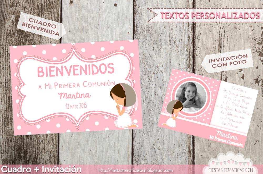 Cuadro bienvenida + invitación con foto comunión