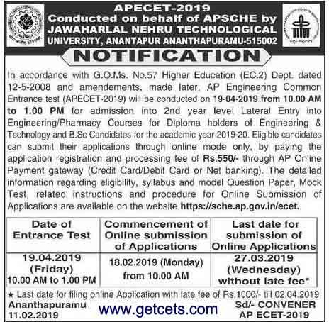 AP ECET notification 2019-2020, apply online, exam date