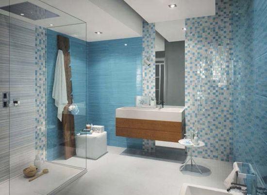 Wallpaper Dinding Warna Biru Untuk Ruang Kamar Mandi Inovasi Rumah