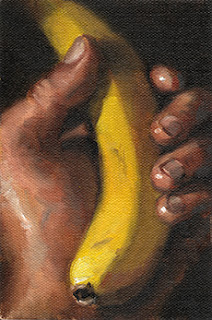 Oil painting of a banana held in a hand.