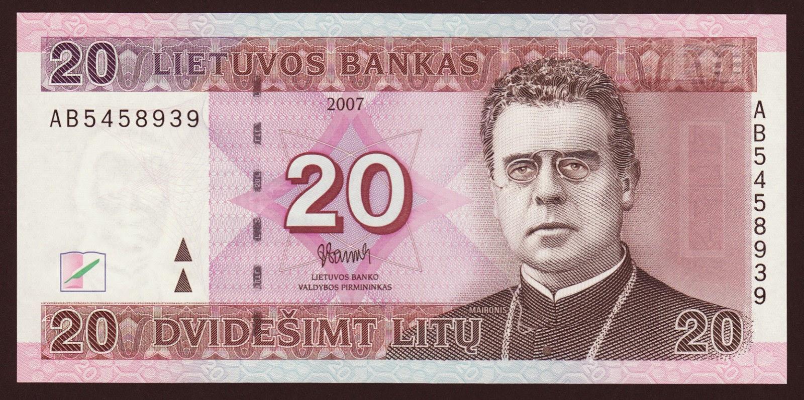 20 Lithuanian Litas banknote Maironis
