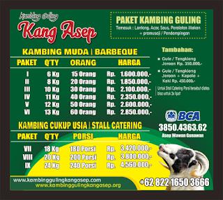harga kambing guling lembang februari 2019