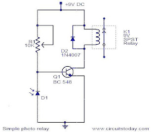 electronic hobby circuits: simple light sensor relay circuit