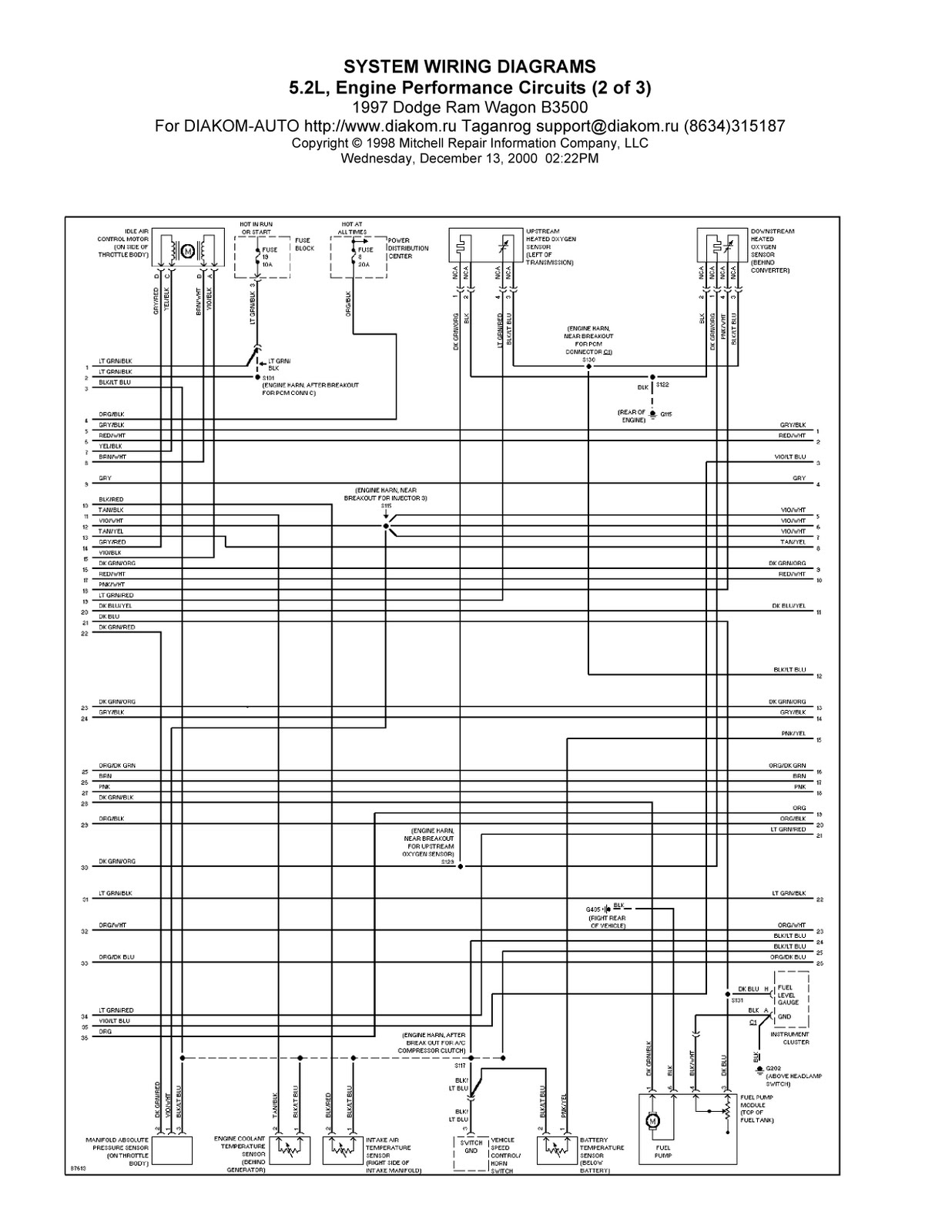 1997 Dodge Ram Wagon B3500 System Wiring Diagram 5,2L ...