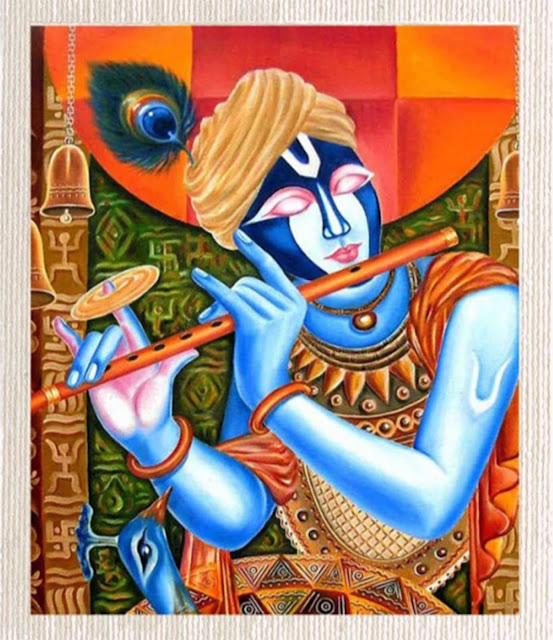 Canvas Krishana Painting Without Frame Silver Plated