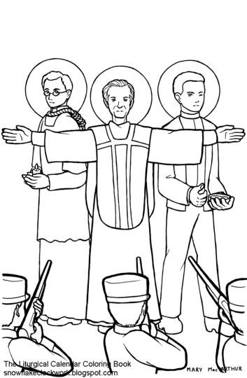 Snowflake Clockwork: Mexican martyrs coloring page