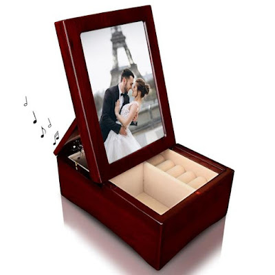Give mom the Nile Corp Wooden Glossy Rosewood Musical Jewelry Box this Mother's Day
