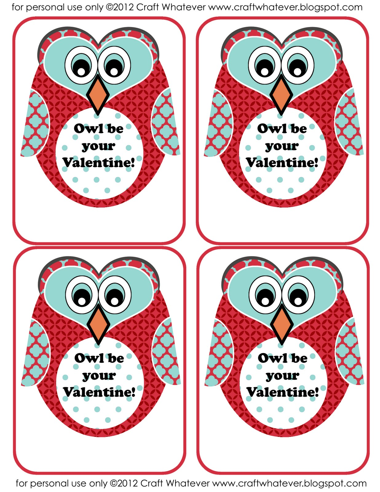 Craft Whatever Printable Owl Valentines