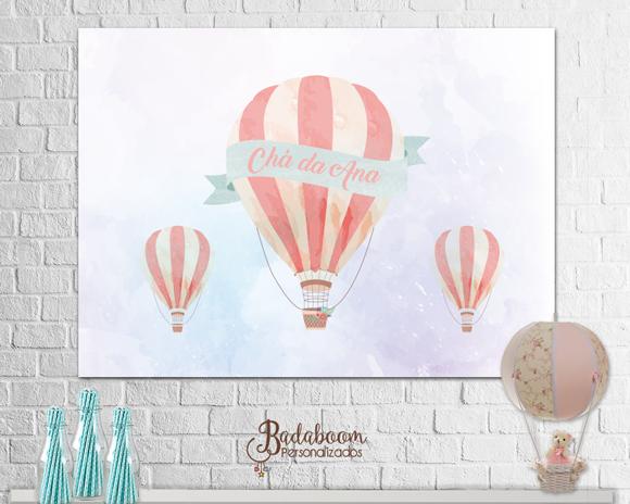 Balão, chá de bebe, chá de fraldas, balonismo, aquarela, painel, banner, feta infantil, arte personalizada