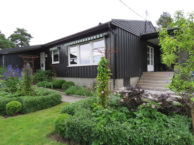 Tips til hagedesign. Ligusterhekker rundt to rektangulære bed i Furulunden.