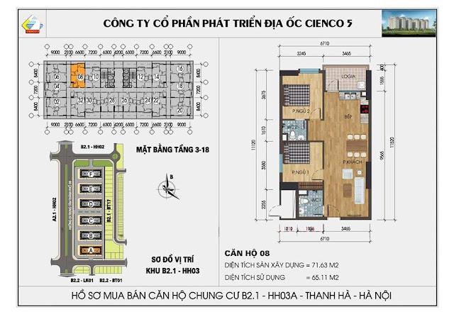 Sơ đồ thiết kế căn hộ 08 chung cư B2.1 HH03 Thanh Hà
