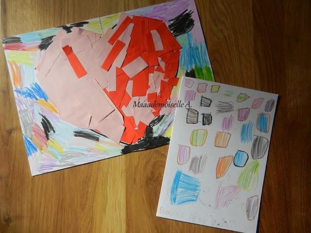 || Nos cadeaux pour la fête des pères ; Coeur en collage, carte (ultra) colorée