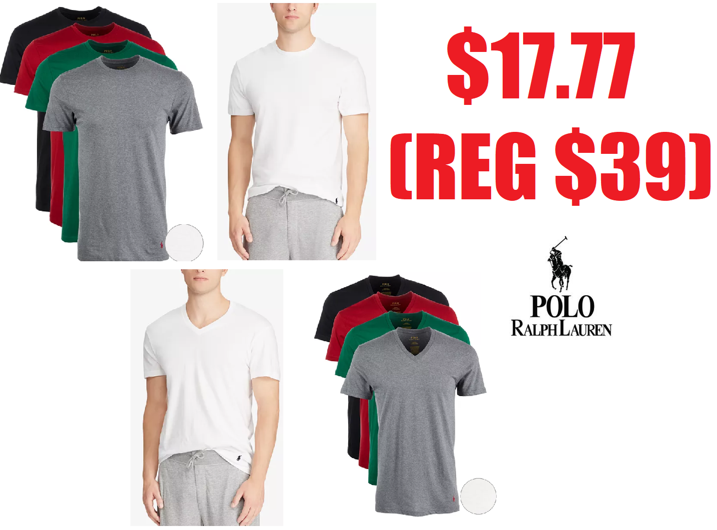 6baa0e317 4 Pack Polo Ralph Lauren Men's Classic-Fit Cotton Crew Neck T-Shirts or V-Neck  T-Shirts in White or Assorted Colors $17.77 (Reg $39.50) + Free Pickup at  ...