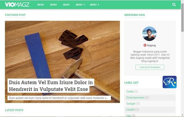 Template VioMagz, Template Blogger Keren Penerus Evo Magz